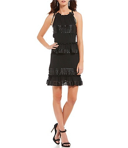 Gianni Bini Stella Satin Trim Ruffle Tie Shoulder Dress