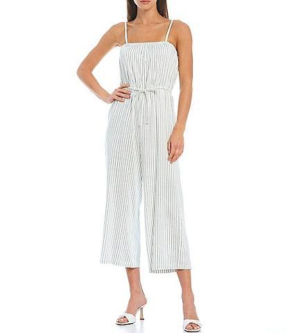 Gianni Bini Striped Sleeveless Square Neck Cropped Jumpsuit
