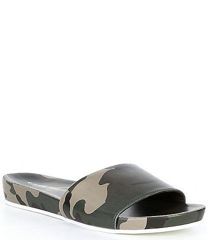 Gianni Bini Summatime Camo Multi Banded Wedge Pool Slides