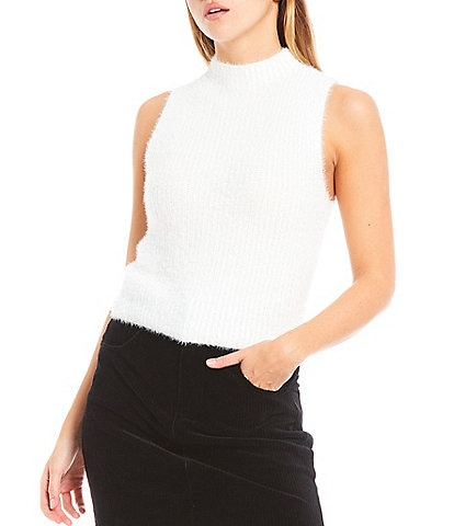 Gianni Bini Summer Eyelash Mock Neck Sleeveless Knit Top
