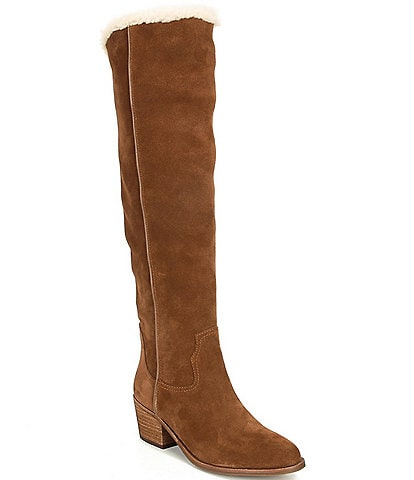 Gianni Bini Suvvie Suede Slim Calf Shearling Lined Over-The-Knee Block Heel Boots