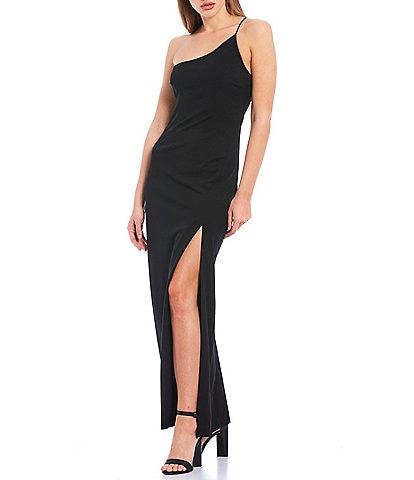 Gianni Bini Talan One Shoulder Scuba Crepe Front High Slit Dress