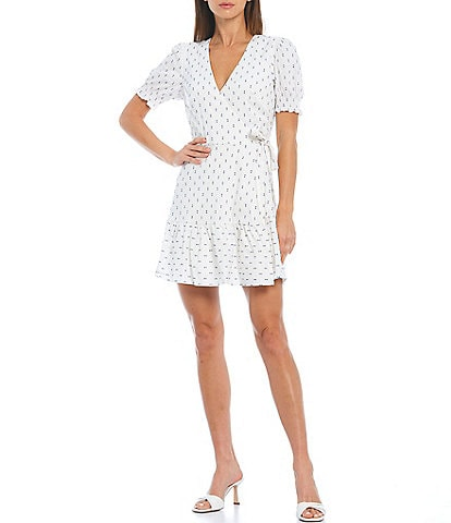 Gianni Bini Tara Short Sleeve V-Neck Wrap Dress