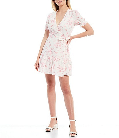 Gianni Bini Tara Short Sleeve V-Neck Wrap Floral Dress