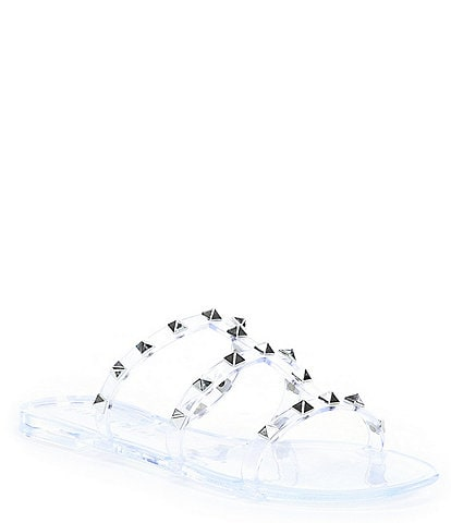 Gianni Bini Tiphany Clear Triple Band Studded Jelly Slides
