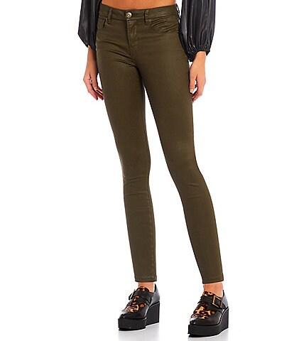Gianni Bini Tori Skinny Leg Mid Rise Coated Denim Jeans