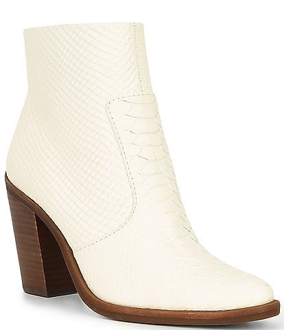 Gianni Bini Tovyy Snake Embossed Leather Stacked Heel Western Booties