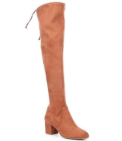 Gianni Bini Trillia Slim Shaft Stretch Fabric Over-The-Knee Block Heel Boots