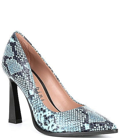 Gianni Bini Truby Snake Print Pointed Toe Leather Pumps
