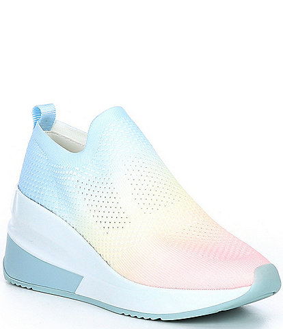 Gianni Bini Valeah Pastel Rainbow Ombre Stretch Knit Slip-On Wedge Sneakers