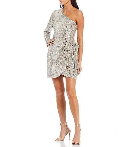 Gianni Bini Valerie Sequin One Shoulder Long Sleeve Tie Side Mini Dress
