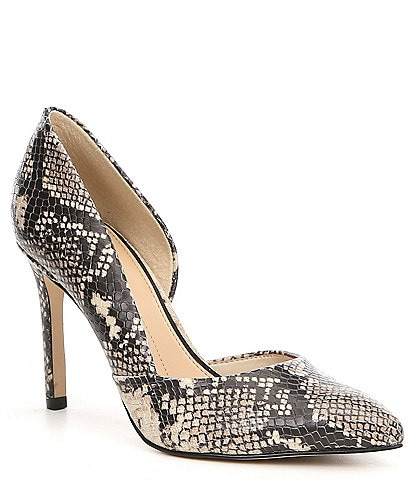 Gianni Bini Venicia Snake Print Leather d'Orsay Pumps