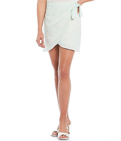 Gianni Bini Violet High Rise Wrap Mini Skirt