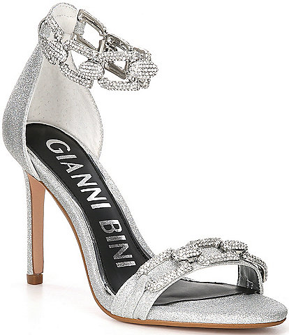 Gianni Bini Vivvia Rhinestone Chain Metallic Dress Sandals