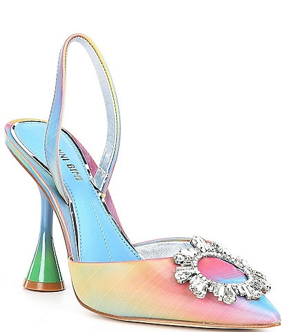 Gianni Bini Vivyee Rainbow Rhinestone Pointed Toe Pumps