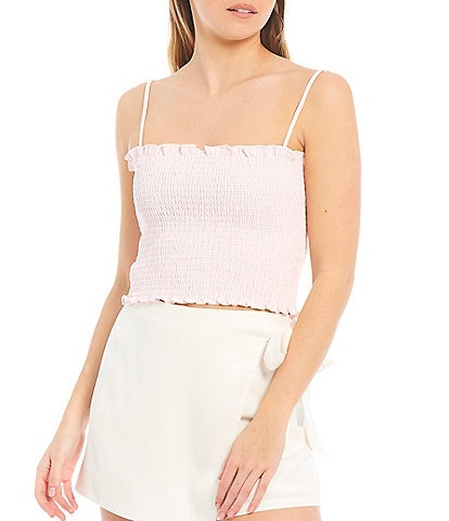 Gianni Bini Woven Ulla Square Neck Sleeveless Smocked Blouse