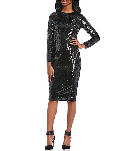 Gianni Bini Zoe Beaded Sequin Long Sleeve Sheath Midi Dress