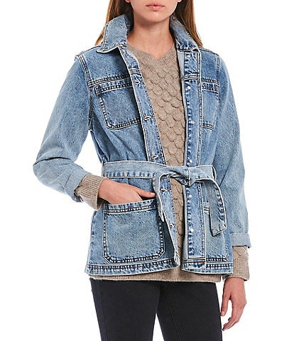 Gibson & Latimer Belted Button Down Denim Jacket
