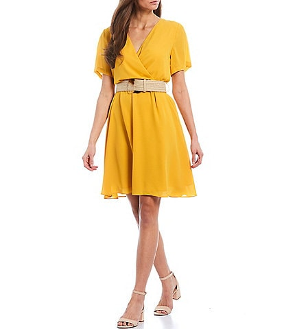 Gibson & Latimer Belted Faux Wrap Dress