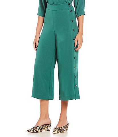 Gibson & Latimer Button Side High Waist Wide Leg Cropped Pant