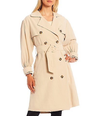 Gibson & Latimer Classic Belted Long Sleeve Double Breasted Lapel Trench Coat