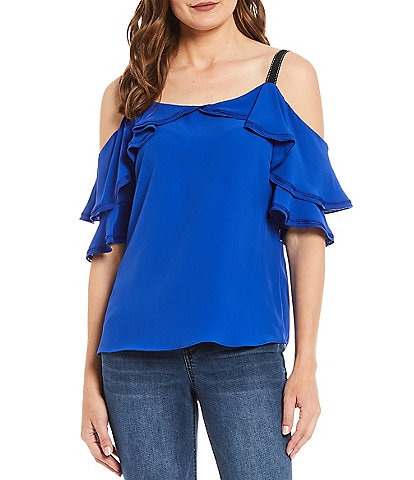 Gibson & Latimer Cold Shoulder Contrast Stitch Crepe Top