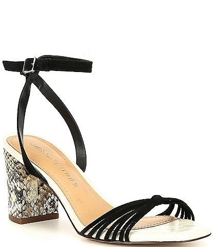 Gibson & Latimer Cordelia Square Toe Strappy Block Heel Snake Print Sandals