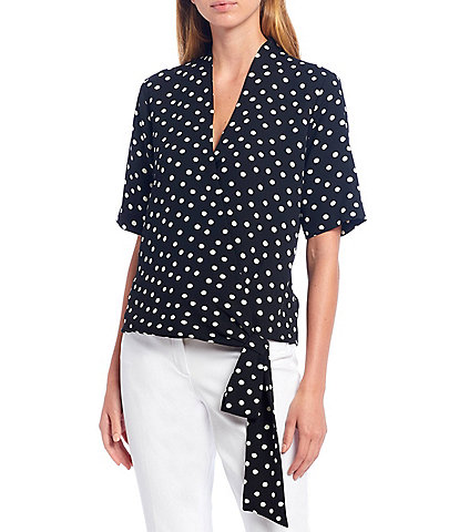 Gibson & Latimer Dotted V-Neck Short Sleeve Wrap Tie Top