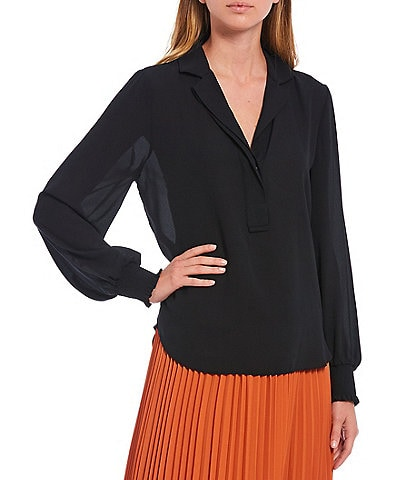 Gibson & Latimer Essential Smocked Cuff Silk Crepe Blouse