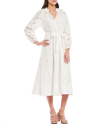 Gibson & Latimer Eyelet Embroidery Belted Midi Dress