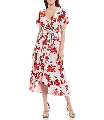 Gibson & Latimer Floral V-Neck Short Sleeve Tie Waist Hi-Low Faux Wrap Midi Dress