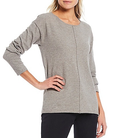 Gibson & Latimer Front Seam Boat Neck Long Sleeve Sweater