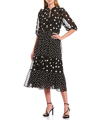 Gibson & Latimer Georgette Polka Dot Neck Ruffle Trim Detail Short Illusion Sleeve Tiered Dress