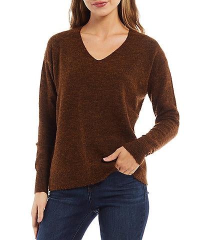 Gibson & Latimer Heathered V-Neck Long Sleeve Sweater