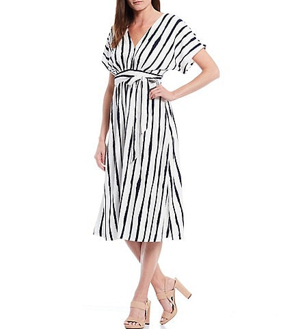 Gibson & Latimer Kimono Sleeve Striped Knit Dress