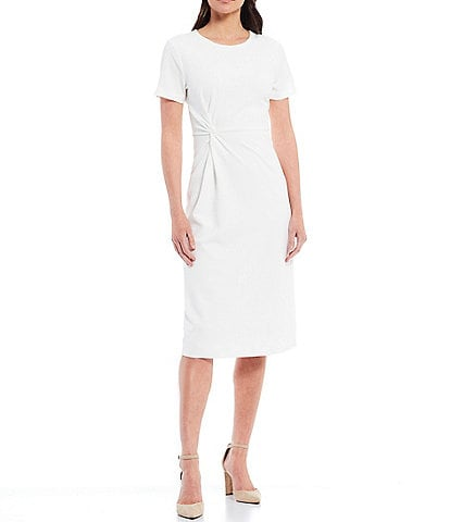 Gibson & Latimer Knot Front Short Sleeve Round Neck Knit Crepe Dress