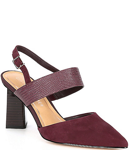 Gibson & Latimer Margo Croco Embossed Leather Suede Pointed Toe Block Heel Pumps