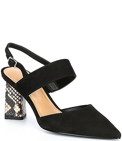 Gibson & Latimer Margo Leather Suede Pointed Toe Block Heel Pumps