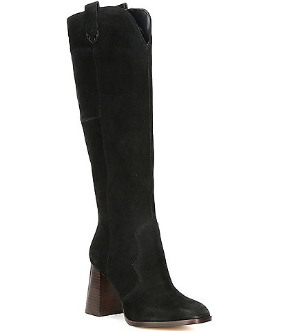 Gibson & Latimer Nataly Suede Western Tall Block Heel Boots
