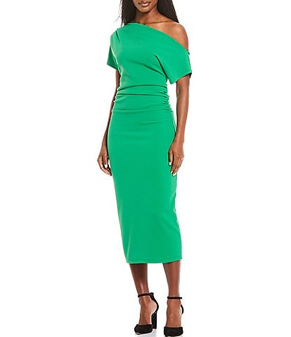 Gibson & Latimer One Shoulder Midi Knit Dress