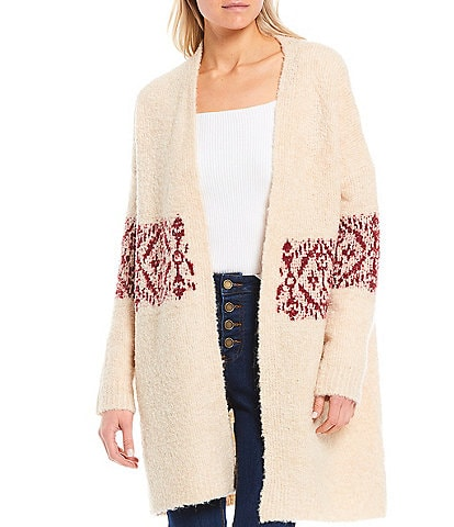 Gibson & Latimer Open Front Long Sleeve Printed Slouchy Cardigan