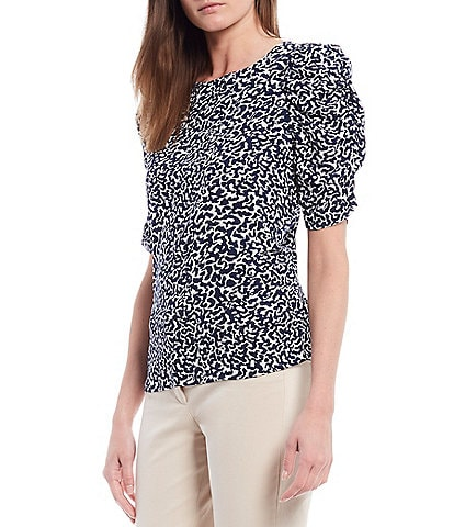 Gibson & Latimer Puff Shirred Sleeve Crepe Blouse