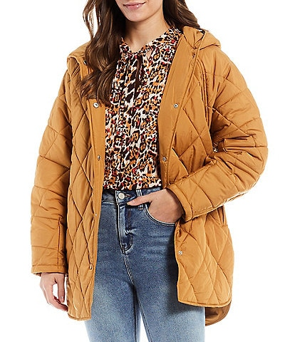 Gibson & Latimer Quilted Long Sleeve Hooded Shirttail Coat