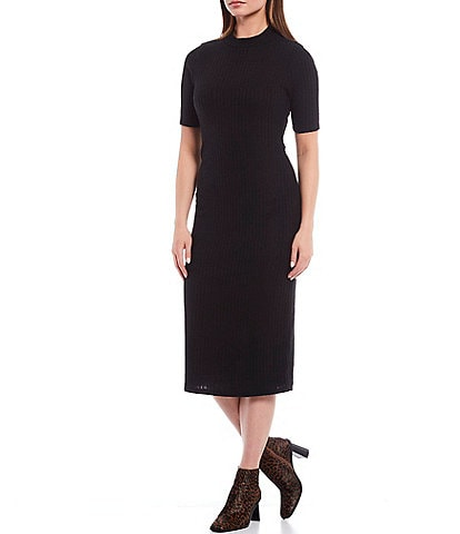 Gibson & Latimer Ribbed Knit Mock Neck Short Sleeve Midi Dress