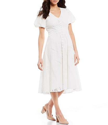 Gibson & Latimer Short Puff Sleeve Button Down Eyelet Tea Midi Dress