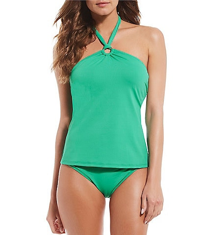 Gibson & Latimer Solid Kelly Ring Bandini Top & Ring Hipster Swimsuit Bottom