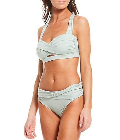 Gibson & Latimer Solid Keyhole Twist Bandeau Swim Top & Solid Twist Sash Classic Hipster Swim Bottom