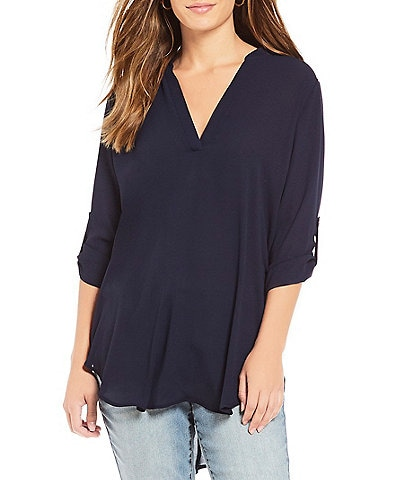 Gibson & Latimer Solid Roll-Tab V-Neck Tunic