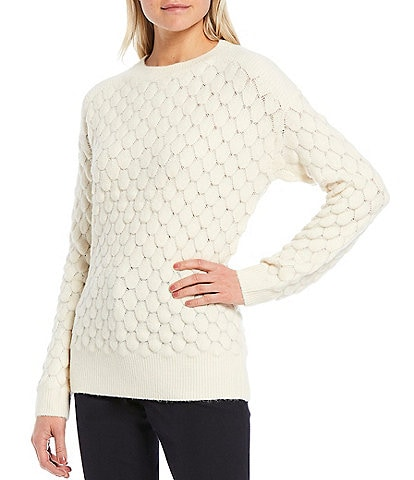 Gibson & Latimer Textured Crew Neck Long Sleeve Sweater