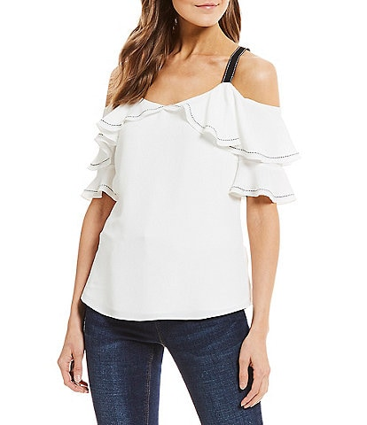 Gibson & Latimer Tier Ruffle Cold Shoulder Ribbon Strap Detail Top